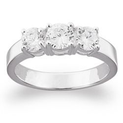Sterling Silver Cubic Zirconia Trio Promise Ring