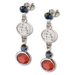 Crystal Earrings with St. Louis Cardinals Logo Charm