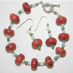 Coral and Crystal Bracelet and Earring Set