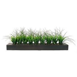 Two-Tone Grasses and Wood Planter