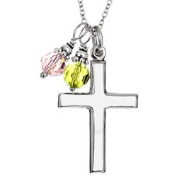Sterling Silver Cross Necklace with Dangling Birthstones