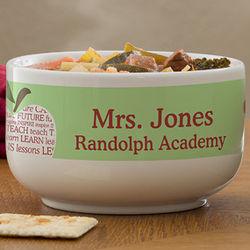 Teacher's Apple Scroll Personalized Soup Bowl