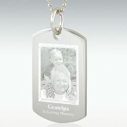 Photo Engraved Silver Rectangle Pendant