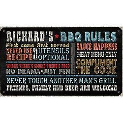 Personalized Rules for Great Grilling Metal Sign