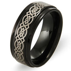 Celtic Design Black Plate Tungsten Ring