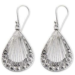 Peacock Feather Sterling Silver Dangle Earrings