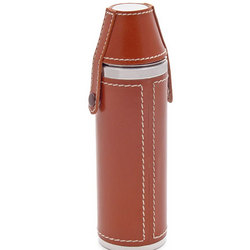 Brown Leather Sportsman Flask and Cup Set