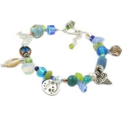 60 and Sensational Blue Birthday Charm Bracelet
