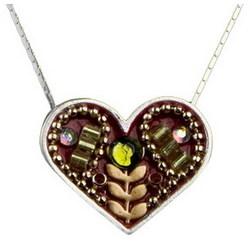 Flower in Heart Silver Necklace