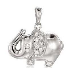 14K W Gold and Diamond 2D Elephant Bracelet Charm