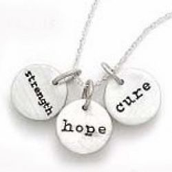 Strength Hope and Cure Silver Charm Necklace