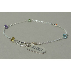 Silver Bracelet with Colored Crystals XOXO Charm