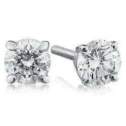 1.00ct Round Diamond Solitaire Earrings in 14k White Gold