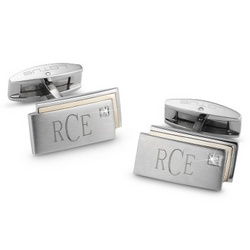 Gold Diamond Cuff Links and Men's Valet Box