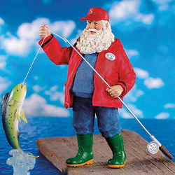 Fishing Outdoorsman Santa Figurine