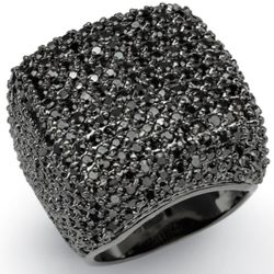 Sterling Silver Black DiamonUltra Cubic Zirconia Pave Dome Ring