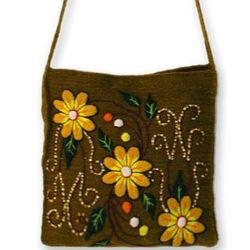 'Sunflower Dance' Wool Shoulder Bag