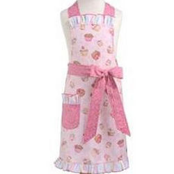 Girl's Apron with Pink Cupcakes