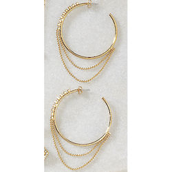 Beaded Chain and Crystal Accent Hoop Earrings