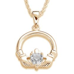 April Birthstone Claddagh Pendant