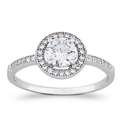 Sterling Silver MicroPave Solitaire Cubic Zirconia Ring