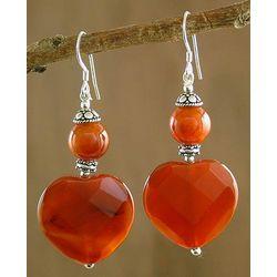 Love's Warmth Carnelian Heart Earrings