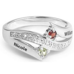 Couple's Birthstone Sterling Silver and Name Diamond Ring