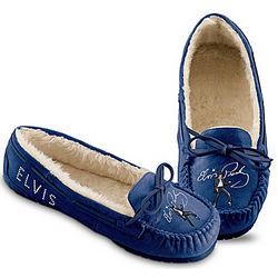 Elvis Presley Women's Blue Suede Moccasins