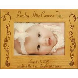 Wooden Personalized Flower Baby Frame