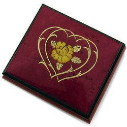 Red Wine Double Heart and Flower Sorrento Inlaid Music Box