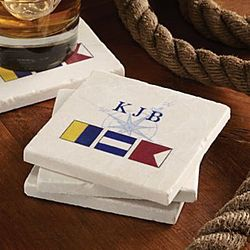 Personalized Nautical Flag Coasters Set