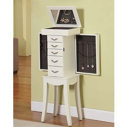 White Curved Standing Jewelry Cabinet Armoire with Five Drawers