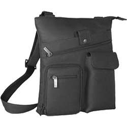 Men's Black Leather 457 Multi Pocket Cross Bag