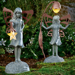Flower Fairy Garden Statue with Solar Lantern