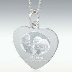 Silver Heart Photo Engraved Sympathy Pendant