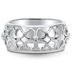 Sterling Silver CZ Clover Band