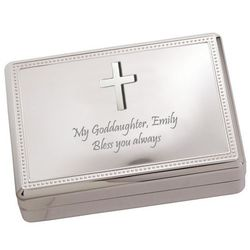 Personalized Silver Cross Jewelry Box