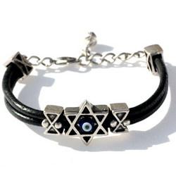 Star of David Protection Leather Bracelet