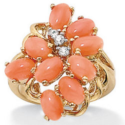 Coral 18k Gold Over Sterling Silver Cluster Ring