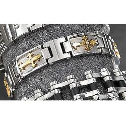 Two-Tone Steel Cross Bracelet