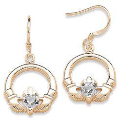April Birthstone Claddagh Earrings