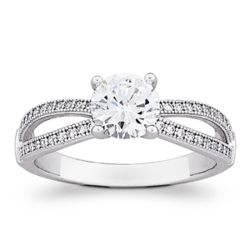 Sterling Silver MicroPave Cubic Zirconia Solitaire Ring
