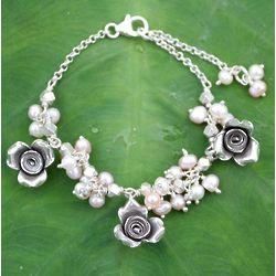 Wild Roses Pearl Floral Bracelet