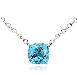 Swiss Blue Topaz Pendant in Sterling Silver