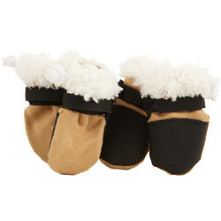 Brown Faux Suede Booties for Dogs