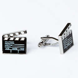 Rhodium Plated Director's Cut Cufflinks with Engraved Box