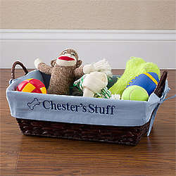 Pet Toy Basket with Personalized Blue Liner