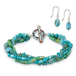 Handcrafted Turquoise Bracelet and Earring Set