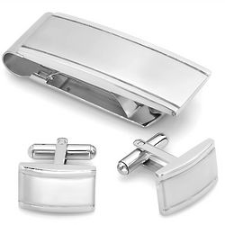 Brushed Stainless Steel Money Clip and Cuff Links Gift Set