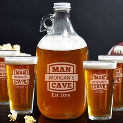 Man Cave Growler and Beer Glasses Set